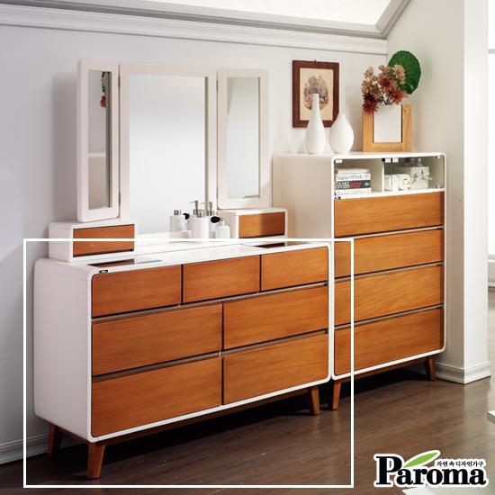 [파로마] 대니시 원목 도장 드레스 서랍장(거울제외)
