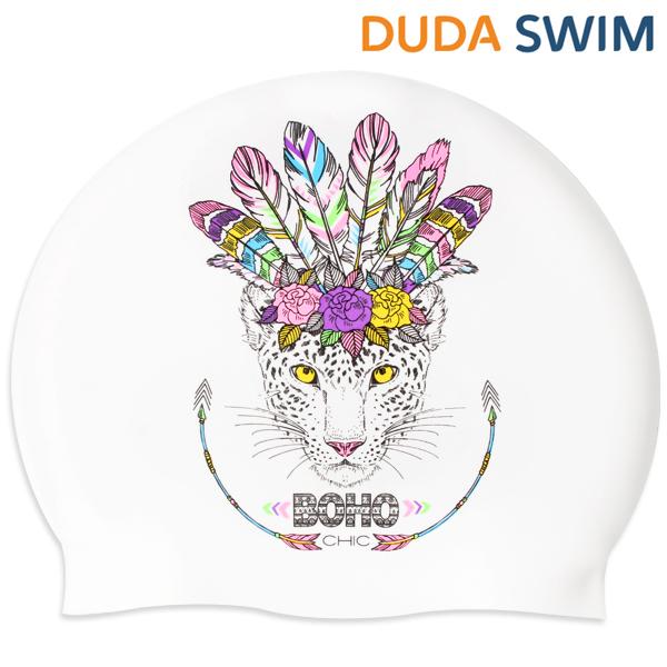 두다수모-아즈텍 표범 화이트 실리콘 수모 수영모