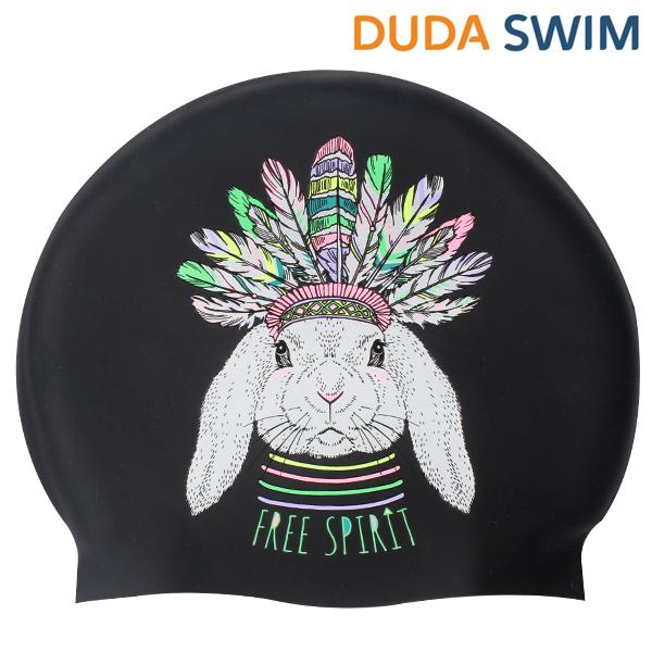 두다수모-아즈텍 토끼 블랙 실리콘 수모 수영모