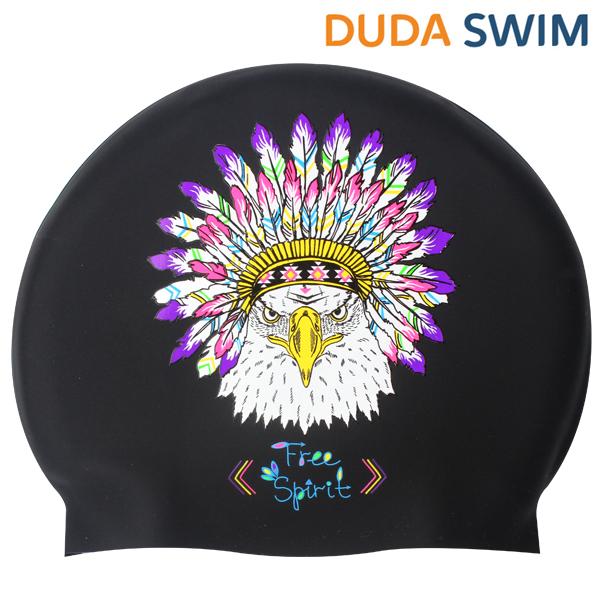 두다수모-아즈텍 독수리 블랙 실리콘 수모 수영모