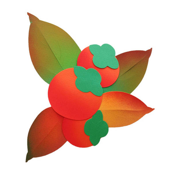 [아트공구][유니네2977]3500 종이 감 감잎 가을